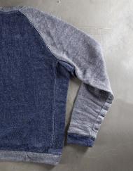 Round Clothing | Felpa Blu Navy con maniche raglan grigie