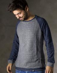 Round Clothing | Felpa Grigia con maniche raglan blu navy