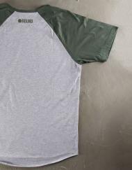 Round Clothing | Basic Collection - T-shirt Grigio Chiaro con maniche raglan Verdi