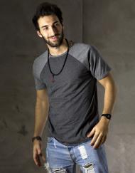 Round Clothing | Basic Collection - T-shirt Grigio Scuro con maniche raglan Grigie