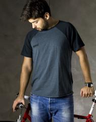 Round Clothing | Bike Collection - T-shirt Blu con maniche raglan Blu Navy
