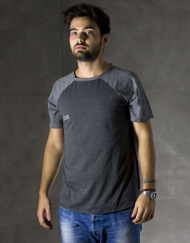 Round Clothing   Bike Collection - T-shirt Grigio Scuro con maniche raglan Grigie