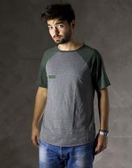 Round Clothing | Bike Collection - T-shirt Grigia con maniche raglan Verdi