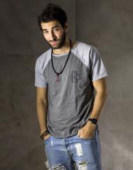 Round Clothing | Basic Collection - T-shirt Grigia con maniche raglan Grigio Chiaro CHAIN