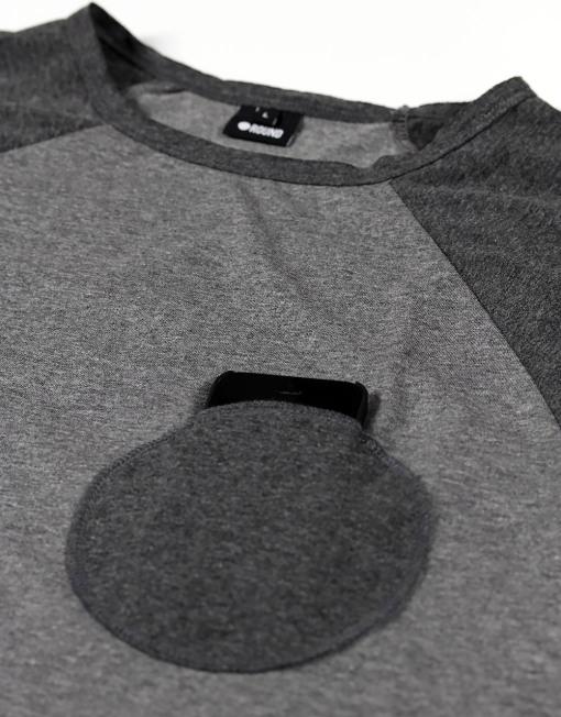 Round Clothing   Logo Collection - T-shirt Grigia con taschino tondo Grigio Scuro