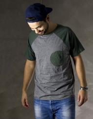 Round Clothing | Logo Collection - T-shirt Grigia con taschino tondo Verde