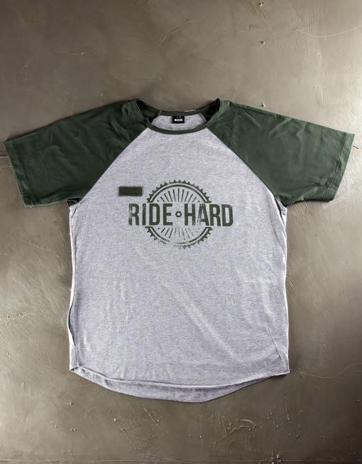 Round Clothing | Bike Collection - T-shirt Grigio Chiaro con maniche raglan Verdi RIDE HARD